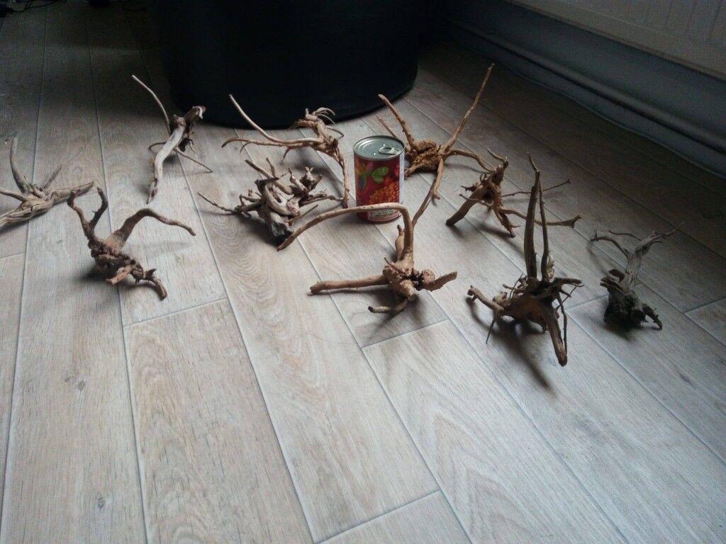 10 small pieces of aquarium root wood