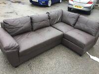 Fernando Leather Right Corner Sofa bed - chocolate