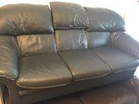 Real leather sofa set 3+1 ARMCHAIR VERY COMFY DARK GREY