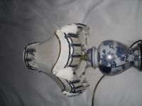 blue cream and gold lamp with matching shade