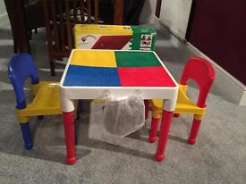 TOT TUTORS LEGO CONSTRUCTION TABLE WRITING TABLE 2 CHAIRS