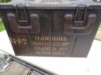 Harrods 1945 china & glass tin box - 1945 ammunition box . MPB B166A