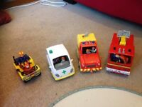 Large fireman Sam play set, track, buildings, various cars and figures
