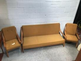Stunning vintage 3 piece suite with teak frame two arm chairs and sofa bed
