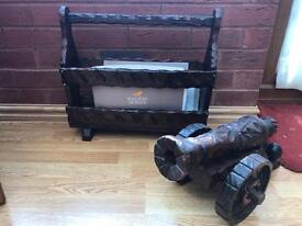 Vintage wood magazine book rack and cannon from the 60s