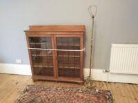 Glass fronted bookshelf cabinet unit Antique furniture Hardwood