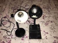 2 black metal desk lamps lights