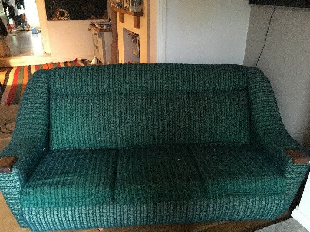 70's retro green sofa.