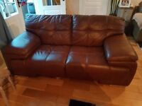 Luxury brown leather large two-seater sofa EXCELLENT condition
