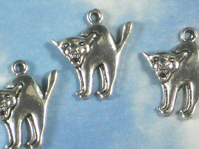 10 Scary Cats Arched Back Charms Silver Tone Halloween Fun Kitty Cat Face #P1680 - Kitty Cat Face Halloween
