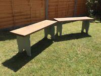 2 Rustic Dark Oak Benches