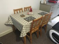 Wooden table and 4 chairs
