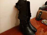 Ladies calf length black boots size 5