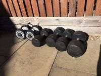 Various Bodymax Dumbbells (16kgs, 22.5 kg, 25 kgs, 30 kg- some damaged)