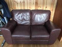 Real Brown Leather Sofas 3 & 2 Seater.