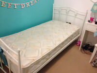 Single bed white metal from the 'Amy' range at Next, mattress included