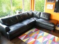 'L' Shaped Black Leather Sofa