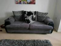 2 and 3 seater black and grey fabric and leather sofa