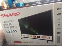 "BNIB SHARP AQUOS 55"" ULTRA HD SMART LED TV NEVER OPENED"