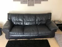 Black Sofa 3 seater, 1 chair and 1 stool