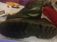 Black Leather Click Safety Work Boots