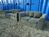Grey Jumbo Cord 3+2 Seater Sofas *Excellent Clean Condition*