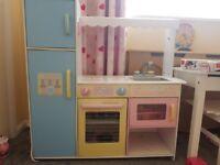 Girls wooden kicthen. Fridge freezer microwave compartments