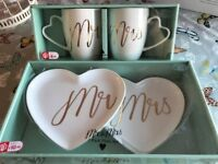 Mr & Mrs Cup and Saucer Set
