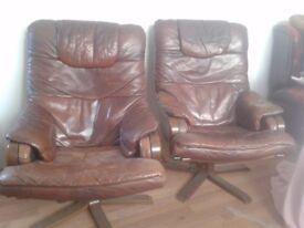 Danish Scandinavian Vintage Leather Chair Pair of Retro Antique Swivel Chairs