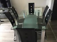 Glass Dinning table 6 Leather chairs, Coffee Table, Beko Dishwasher & Samsung washing machine