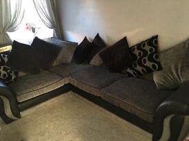 Dfs corner sofa with 2 year fabric card and foam cushions