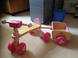 Elc wooden trike and cart