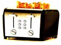 NEW MATT BLACK 4 WIDE SLICE VARIABLE BROWNING TOASTER 1300-1500W