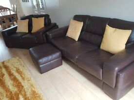 Brown Leather Sofa 2 & 3 seater.