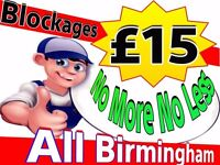 """""""£15"""" Blocked Toilets & Drains""""(NO MORE-NO LESS) """"ALL BIRMINGHAM"""" 24hrs 7day*Plumbing*Plumber*"""