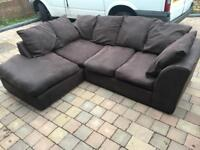 Brown fabric corner sofa in good used condition