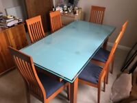 Italian Cherry wood & etched glass table with six matching upright chairs