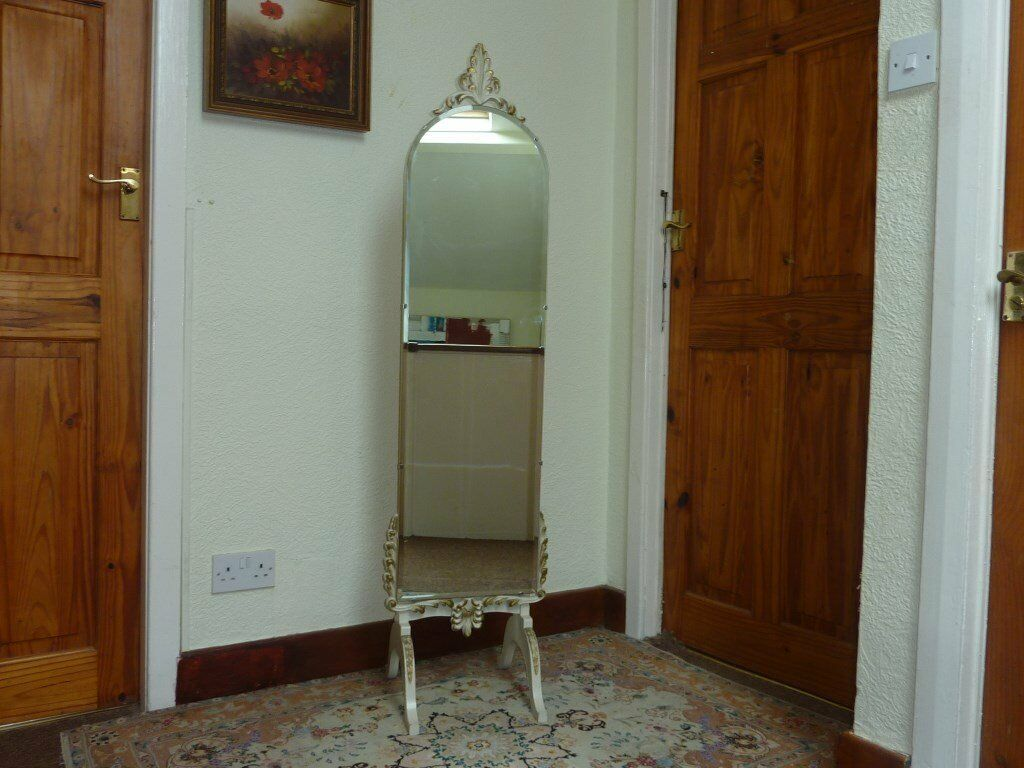 Vintage French Louis Rococo Style Floor Bevelled Mirror