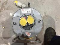25m 110 volt cable reel extension with double output socket