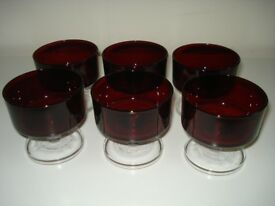 SET OF 6 LUMINARC VINTAGE RETRO RUBY DARK RED WINE GLASSES *VERY GOOD CONDITION*collect London SW10*