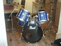pearl export drum kit, metalic blue with all hardware