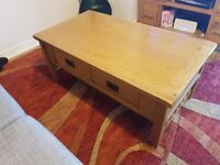Oak Coffee Table with Drawers and Shelf