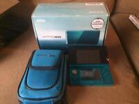 Boxed aqua blue Nintendo 3DS