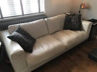 Contemporary White leather 3 seater Sofa & single chair with metal frame legs