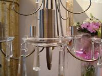 BRAND NEW 5 ARM CRYSTAL CHANDELIER LIGHT IN ANTIQUE BRASS CASA MENDEZ FROM LEEKS COST £80 ONLY £20