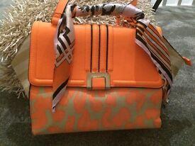 River Island orange hand bag with scarf