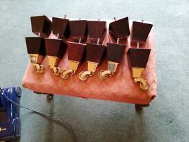 12 Brass antique casters