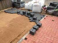 Block paving. Artificial grass. Slabbing