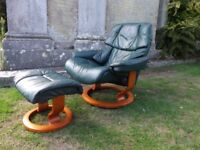 LOVELY STRESSLESS LEATHER RECLINING CHAIR