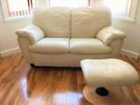 Ivory/cream leather 2 and 3 seater sofas with footstool, in good condition
